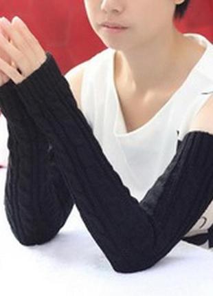 Митенки длинные перчатки без пальцев черные женские косичка новые