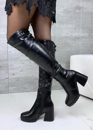 Красивые сапожки еврозима на удобном каблуке