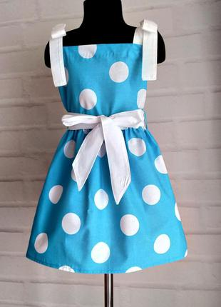 """Голубое платье с принтом """"горох"""" на завязочках. детское платье..."""