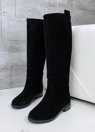 Замшевые сапоги еврозима на низком каблуке,шикарные сапоги из ...