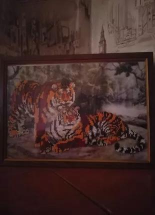 Картина вышита бисером, тигры, пара , любовь