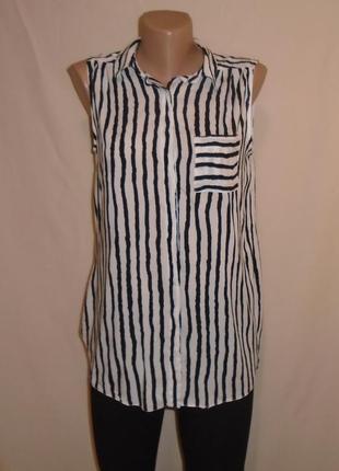 Рубашка в полоску без рукавов/сорочка/блуза