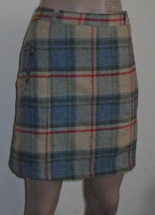 Теплая шерстяная юбка мини в клетку/спідниця в клітинку