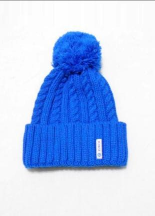 Зимняя вязаная 30% шерстная шапка с помпоном с бубоном