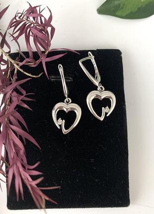 Серьги сердечки серебро