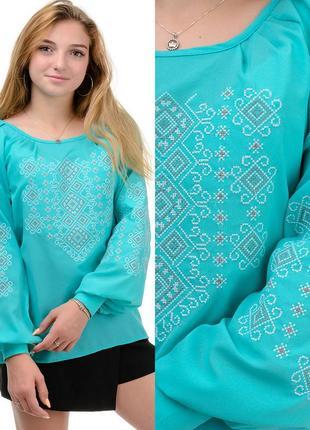 Блузка с вышивкой,женская нарядная рубаха с длинным рукавом