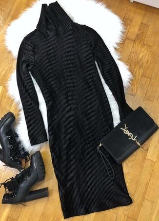 Новое черное бархатное платье чулок