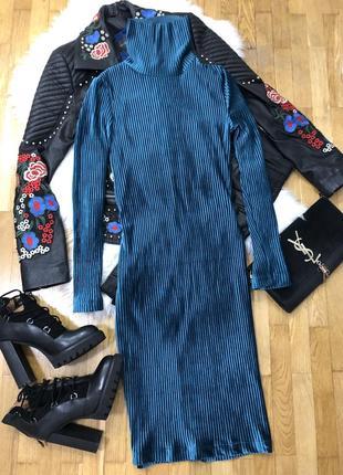 Новое голубое бирюзовое бархатное платье чулок
