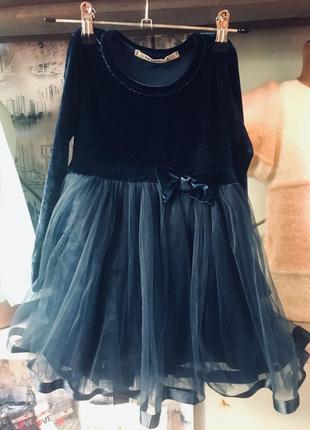 Нарядное платье темно-синего цвета