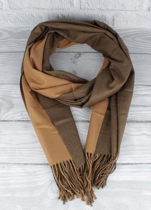 Двусторонний кашемировый шарф, палантин cashmere 7280-15 горчи...