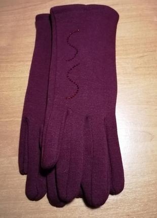 Перчатки бордовые женские трикотажные