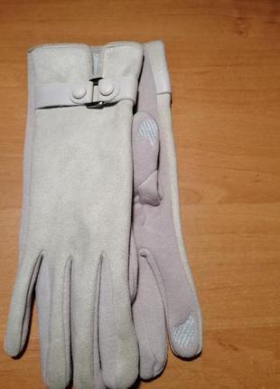 Светлые женские трикотажные перчатки