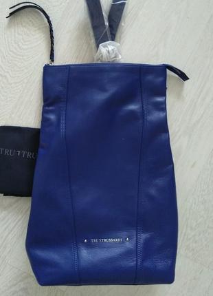 Новый кожаный рюкзак trussardi большой 100% кожа синий коричне...