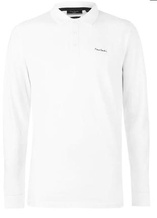 Мужская однотонная рубашка-поло с длинным рукавом pierre cardin