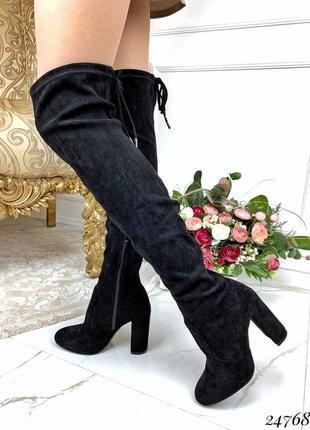 Замшевые сапоги ботфорты на каблуке,демисезонные высокие ботфо...