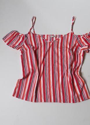 Блузка с открытыми плечами в полоску