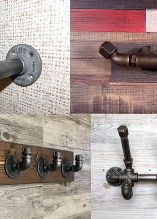 Крючок-вешалка для одежды из труб и фитингов в стиле Лофт (Loft)