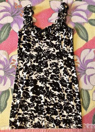 Сарафан платье чёрно- белое с розами