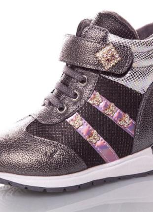 Стильные ботинки зимние с мехом, для девочки, сапоги детские, ...