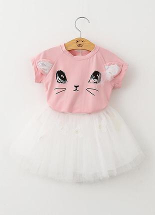 12-37 детский костюм, футболка кошечка, пышная фатиновая юбка