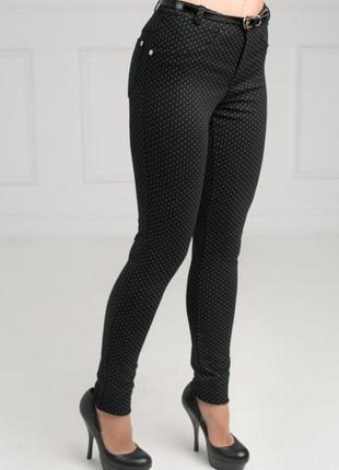 Стильные женские брюки в мелкий горошек, брюки-лосины черные, ...