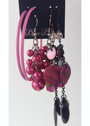 Рожеві сережки, лот серьги, все что на фото продается вместе, ...