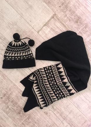 Набор вязаный шерсть womens secret шапка шарф