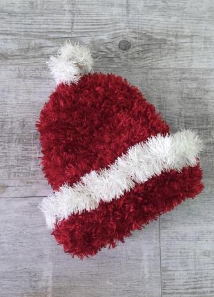 Шапка зимняя вязаная теплая (костюм деда мороза санта клауса)