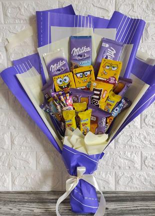 Букет для ребёнка съедобный сладкий из конфет шоколадок Милки