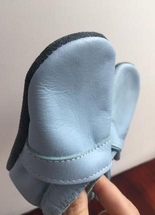 Пинетки голубого цвета. натуральная кожа