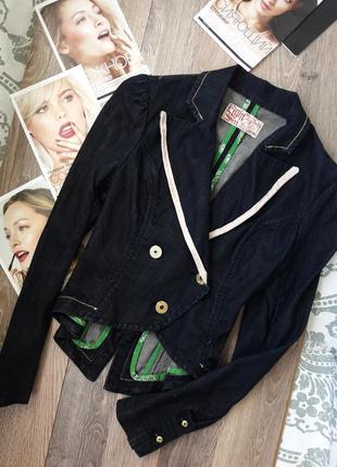 Пиджак фрак  джинсовый с хвостом приталенный жакет