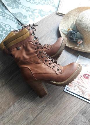 Ботинки высокие сапоги на шнуровке timberland