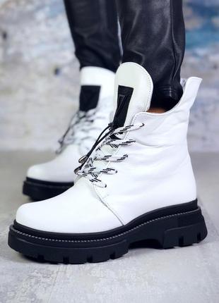 Брутальные зимние кожаные ботинки на шнурках