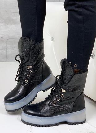Ботинки мартинсы, высокие ботинки на грубой подошве,зимние бот...