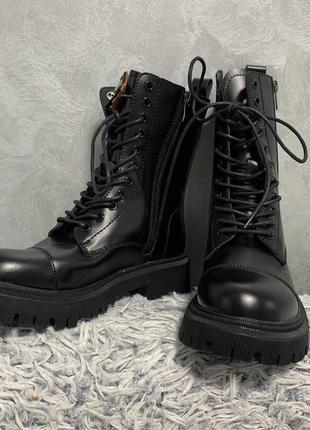 Ботинки сапоги кожаные в стиле balenciaga