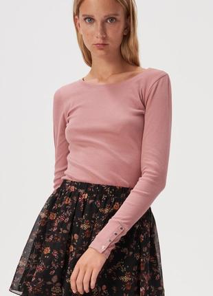 Новая облегающая темно-розовая кофта темная пудра лонгслив блу...