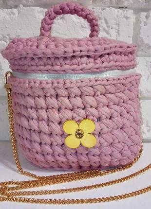 Сумка вязаная пудровая зефирка сумочка из трикотажной пряжи ру...