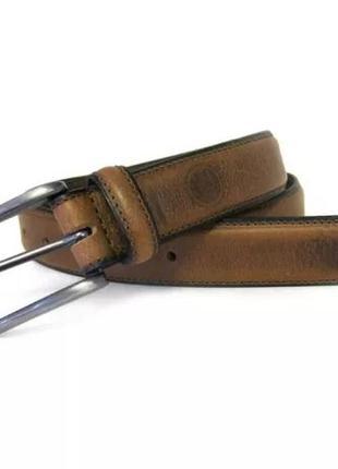 Ремень кожаный мужской boconi feather-edge stitched leather belt
