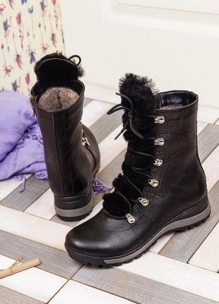 Кожаные женские зимние черные ботинки на шнуровке с молнией на...
