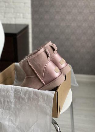 Ugg metallic mini pink! женские замшевые зимние угги/ сапоги/ ...