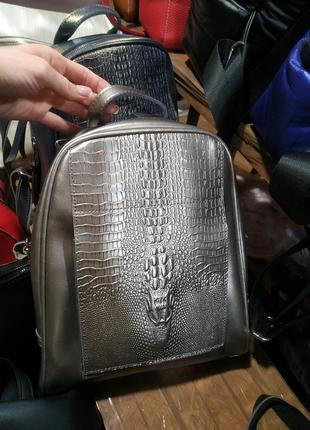 Фото реал!!!шикарный серебристый рюкзак из натуральной кожи