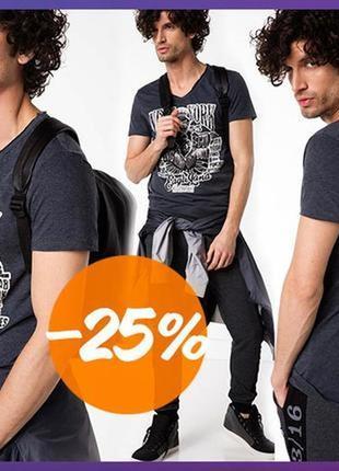 Мужская футболка defacto / дефакто серого цвета с белым рисунком