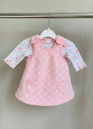 Комплект «пуговка» боди и теплый сарафан платье   подарок mini...