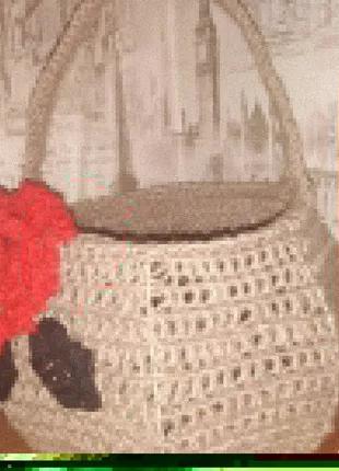 Корзина плетёная , ручная работа, маки