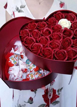Подарок подарочный бокс  для девушки жены, букет из мыльных роз