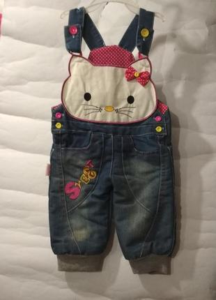 Детские полукомбинезон джинсовый китти от 0-1 год