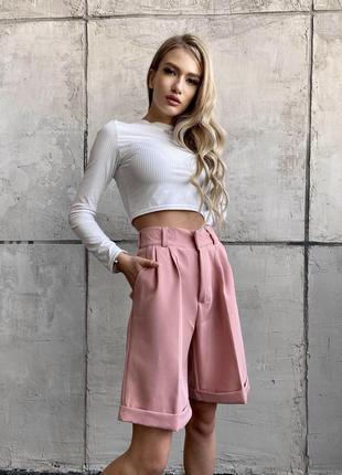 Тренд сезона шорты бермуды,женские шорты,розовые шорты бермуды