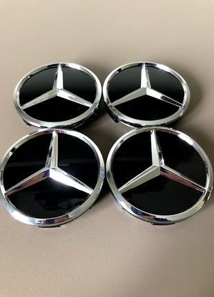 Колпачки заглушки на литые диски Mercedes (60/56/10) черные