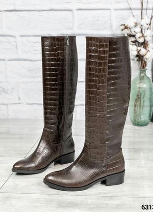 ❤ женские коричневые осенние демисезонные кожаные высокие сапо...