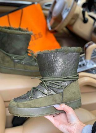 Ugg luna green! шикарные женские зимние угги/ сапоги/ ботинки/...